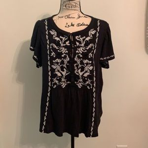 Anthropologie Black & White Embroidered Top